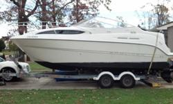 Type of Boat: Power BoatYear: 2002Make: BaylinerModel: CieraLength: 2455Hours: 100Fuel Capacity: 64Fuel Type: GasEngine Model: 250hp 5.7 mercury mercruiser # of slide-outs: NoneSleeps how many: 4Inboard / Outboard (Boat): Single I/OTotal Horse Power: