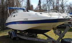 Type of Boat: Deck BoatYear: 2002Make: EbbtideModel: Mystique 2400Length: 24Hours: 105Fuel Capacity: 68Fuel Type: GasEngine Model: 260hp Volvo Penta 5.7 GL SX-MInboard / Outboard (Boat): Single I/OTotal Horse Power: 260Beam (Boat): 8.6Hull Material