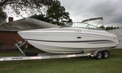 Sun Sport Cruiser, Single engine 425 hp, 550 hours on engine, excellent running condition.Air conditioned cabin, refrigerator, microwave, porcelain head with holding tank. Full camper enclosure. Custom tandem aluminum trailer with disc brakes.Stored