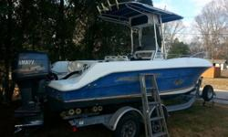 Great condition! Center console with fishfinder, VHF, GPS, Tournament package. Yamaha 200 hp V6 2 stroke outboard engine with low hours - 285. Included Venture trailer has been refurbished summer of 2014; new wheels, bearings, etc. Fishfinder, VHF, GPS,