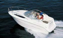The Bayliner 2455 Ciera family cruiser features a roomy one level cockpit with tons of seating, a spacious cabin with all the amenities, an enclosed head with a shower, and a midcabin private berthIn addition to all the standard features (click Full
