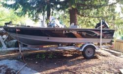 Galvanized Trailer with tongue hinged to fit in a garage. 60HP Mercury 4 stroke EFI outboard with two (2) propellers. IPS Hull 27 gallon built in fuel tank Bow trolling motor plug in Dual Rod Lockers, eight total compartments 2 premium pedestal seats Dual