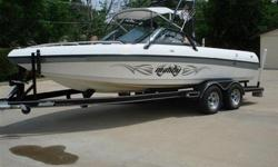 V- drive with Upgraded Monsoon-Malibu 5.7 liter 350 V8 335 HP ENGINE !!!! It comes with matching Malibu trailer. Depth finder, Malibu ballast system. Walk thru transom, docking lights, JVC Cd player, Wakeboard tower, Wakeboard Racks, Tower SPeakers, 2 JBL