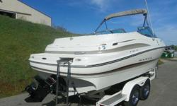 ,,...2002 MAXUM 2300 SR WITH ONLY 131 HOURS! A 250 hp Mercruiser 5.7L V8 powers this fiberglass bowrider. Features include: bimini top, full walk-thru windshield w/fold-n-stow door, Jensen AM/FM/CD stereo w/weather guard, Uniden VHF marine radio, Danforth