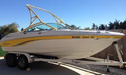 20 foot Chaparral 200 SSI bowrider. 220 horsepower. Volvo Penta 5.0 GL-C. 115 hours. Includes extended platform, bimini top, stereo, snap in/out carpet, depth gauge, windglass, wakeboard tower with wakeboard rack and lots of storage. Includes Zeman