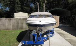 2003 GLASTRON 18.5' BOWRIDER WITH 4.3L VOLVO I/O. ONLY 165 HOURS.BOAT IS IN LIKE NEW CONDITION,WITH BRAND NEW CUSTOM INTERIOR, COMES WITH BIMINI TOP, CAMPER ENCLOSURE, STEREO, ETC..INCLUDES A MATCHING TRAILER WITH SWING AWAY TOUNGE, AND SPARE TIRE.