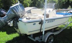 Nice 2003 keywest bay reef 196 fishing boat 19 foot six inches NEVER SEEN SALT WATERCenter Console with cooler seats and three swivel seats2 live wells and a conection to wash down boatHull is in very good condition, your normal wear and tearboat has new