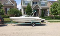 2003 Larson 18' boat with 3.0 Mercruiser. Good at gas yet still plenty of power. Brand new bimini top. Comes with depth finder and marine radio. Trailer included. Currently boat slipped at Geist Reservior. If you purchase the boat slip is yours for the