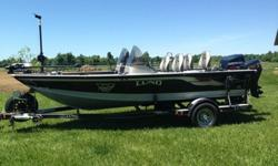 175hp Evinrude (Bombardier) 2 stroke w/oil injection, 15hp Evinrude 4 stroke trolling motor, both with power trim and tilt, Dual console, 4 seats, Lowrance HDS-8 with GPS & down/sidescan, Minn Kota 36v with iPilot, Lowrance Lcx 28c graph with GPS on bow,