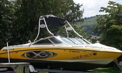 ,,,,,,,,,,2003 Mastercraft X30 with approximately 300 hrs. This boat is salvaged title it hit a tree in the river and took on water through the rutter fin area as you can see from.the pictures boat has hull damage where rutter fin used to be needing a new