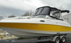 ,.,........powered by a Volvo V8, and propelled by a Volvo Duoprop outdrive! The 5.0GXI V8 Volvo engine makes this a well performing boat! This boat comes standard with Stainless Steel props. The exterior has just been buffed, and is in good shape, but we