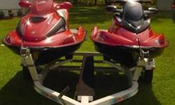 2003 Sea-Doo RX-DI with electronic trim system. Seats 2 riders. 951 cc 2 stroke. 130 hp. 69.2 hours. Electronic dash display. Learning key included. Forward, neutral, and reverse control lever. Very fast!!!2000 Sea-Doo GTX with towing hook on back. Seats