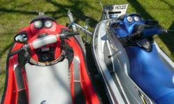 For sale are two SeaDoo's on a Genisis galvanized two place trailer with extra's for $3,500 or best. One SeaDoo is a 2003 XP DI 135 hp. This machine has low hours and is fast and nimble capable of 60+ mph! The other one is a 2002 RX DI two place machine