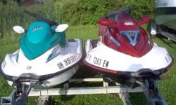 Two nice seadoo jet skis with warranties on each motor. Includes a nice galvanized trailer and each ski has a nice seadoo cover.2003 seadoo gtx di 130 hp reverse has all the bells and whistles new battery very stable ,will not tip very clean and