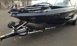 This Triton 190 fs outboard sportsfisherman has a fiberglass hull, is 19.08 feet long and 95 inches wide at the widest point. The boat weighs approximately 1650 pounds with an empty fuel tank and without any gear or passengers.When you contact me please