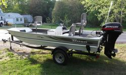 16.5 TRITON BASS BOAT LOW HOURS OF FRESH WATER USE - I DID PUT IT IN SALTWATER FOR COUPLE OF SHORT FISHING TRIPS.AND FLUSHED IT WITH FRESH WATER SOON AS WE GOT HOME -- IT SPENT SUMMERS AT THE LAKE HOUSE.HAS FISH FINDER - 4 NICE TRITON SEATS - ROD STORAGE