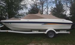 Boat is still like brand new. Only 148 hours on it. 5.0 mercruiser and alpha drive.Brand new lower unit just installed. Custom cover, bimini top, custom fit tarp for winter, 4 life jackets, marine stereo. swing away hitch for easier storage. Sell only, no
