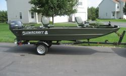 Up for sale is a 14 foot 2004 Alumacraft Jon Boat (Modified V) with a 2005 Shorelander Trailer and 2006 Yamaha 25HP Four Stroke motor with electric start. This boat has never been in any accident or collision and has a clear title as does the motor and