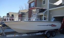 2004 Carolina Skiff Sea Chaser RG2100 Center Console w/2005 Honda BF200 Four Stroke Outboard.-Less Than 80 Hours on Motor-T-top w/ Isinglass curtains and electronics box-Rocket Launchers on T-Top-Boat and motor have been meticulously maintained-Leaning
