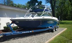 2004 Correct Craft Air Nautique 226TE very clean inside and out. Powered by PCM 330hp engine with 370 hours and comes on a 2004 Prestige custom trailer. This open bow has in floor storage, walk through transom, V-drive, closed cooled engine,