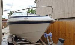 2004 CROWLINE 22 FEET IN REALLY NICE CONDITION,HAS A VOLVO PENTA 5.0 LT AND VOLVO PENTA SX OUTDRIVE,HAS A PORTA PORTY TOILET AND SLEEP 3 IN THE CABIN,2004 ALUMINUM TRAILER WITH TORXION AXLES,BRAND NEW FROM FACTORY ISINGLAS THAT COVER THE WHOLE BOAT,WAS