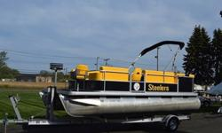 You are viewing a clean 2004 Godfrey Sweetwater 200 20Ft pontoon boat, motor and trailer. This boat has custom color and interior for Pittsburg Steelers Fans. The boat is extremely clean and has never sustained any prior damage. The boat is powered with a