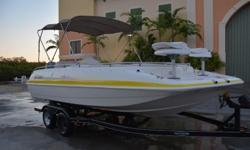 2004 Hurricane 201 Fun Deck. This boat was traded in locally for a newer model, and the previous owner maintained the boat, and motor. This family deck boat is powered by a Yamaha 115 four stroke outboard motor with 1400 hrs. of use. Do not be fooled by
