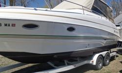2004 Larson Cabrio 274 in very good shape. Original owner. Comes with dual-axle EZ-Loader trailer. Titles for boat and trailer clear and ready to go. 28' Cruiser Boat, 320HP V-8, two sleeping areas, full head, stand-up galley, full canvas, comes with
