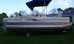 This is a very nice pontoon, very clean and stored in the dry Always, 50 HP four stroke Johnson. IT has a lot of storage, live well , tackle storage, fish finder,radio trailer included ,This boat was bought new and is a one owner. It has not been used
