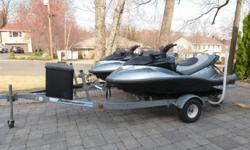 Extremely Low Hours, rarely used. Twin Polaris MSX 150 Waverunners. CUSTOM PAINT JOB! Color: Black and Grey. 2 cylinder, 150 HP, Luxury 1-3 seater. Side view mirrors, reverse, quick trim, and full electronic instrumentation (NGI). Meticulously maintained.