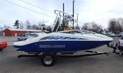 2004 Sea-Doo Speedster 200 2004 Karavan Trailer Twin Engine Rotax (155hp each - 310hp total) Monster Wakeboard Folding Tower Tower Mount Mirror Seating for 7 persons Kenwood Stereo System Full Mooring Travel Cover Storage Galore Interior is Immaculate .