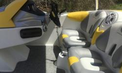 WITH WAKE BOARD TOWER, BIMINI TOP, CARPET, NEW BLUETOOTH STEREO WITH REMOTE, NEW KEWOOD SPEAKERS, OIL CHANGED AND SPARK PLUGS, NEW DEPTH FINDER,BOAT RUNS GREAT AND WILL RUN 50 MPH. THE BOAT AND IS IN GOOD SHAPE, BUT SHOW SIGNS OF AGE. THE SEATS HAVE SOME