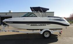 ,,,,,,,,,This 2004 Sea Doo Utopia 205 jet boat is a 20.5 ft open bow equipped with a Mercury 200 horsepower v6 Optimax DFI engine and jet drive. The boat has a several options including a center table,hours:48, bimini top, cd player, and trailer. These