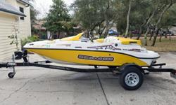 ",,,,,,,,This Sportster runs a GPS-verified 49 mph in the Destin, FL bay, and is very easy to both launch and pull out of the water. Included in the sale is a Karavan black powder coated single axle trailer with 15"" galvanized wheels,hours:47, folding"
