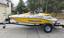 "This Sportster runs a GPS-verified 49 mph in the Destin, FL bay, and is very easy to both launch and pull out of the water. Included in the sale is a Karavan black powder coated single axle trailer with 15"" galvanized wheels, folding tongue jack,"