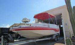 140 HP Suzuki 4-StrokeNew upholstery, new trailer tires, new disc brakes, (rotors, calipers, pads, lines, accuator & hitch)Hour meter shows 177, prior owner said 177. Hour meter does not workBoat has 2 batteries and perko switch for battery isolationLive