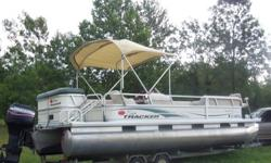 ;'[],./Pontoon has a new boat cover, a new bimini top with storage boot cover and a new charging room curtain.2004 Sun Tracker Party Barge 24' Signature Series Pontoon with a Mercury Tracker Pro Series 90 hp motor and a galvanized tandem trailer. Licensed