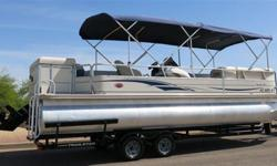 2004 SUN TRACKER PARTY BARGE 25FT REGENCY EDITION TRI-TOON WITH 4.3L 6 CYL. MERCURY ALPHA ONE OUTBOARD (175 TO 225 HORSEPOWER) DOUBLE AXLE TRAILSTAR TRAILER, DOUBLE BIMINI, AND MORE!!!! SEATS UP TO 13 PEOPLE. THIS BOAT IS PERFECT FOR PARTYING, FISHING,