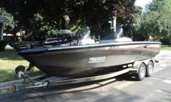 ..,,36v Minn Kota Maxxum Pro trolling motor works great Two fish finders , Lowrance LCX-25 and a X67C both work as they should Sony marine cd player and a Standard Horizon GX1500 radio. 8HP 4 stroke Mercury with cruise control for trolling, runs great. 4