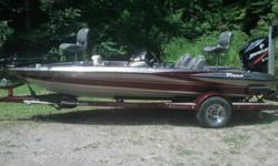 This is a lightly used Limited Edition Triton. At that time it had 86hrs on the motor. It has lots of toys employed by a top angler, Including:Single axle Trailer with wet sump bearing axles.Mercury Optimax 150 with low hours.Minn Kota Terrova 80lb
