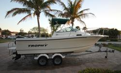 TAKE A LOOK AT THIS GORGEOUS ONE OWNER, METICULOUSLY MAINTAINED 2004 TROPHY PRO 2002 WALK AROUND. THE BOAT HAS VERY, VERY LOW HOURS. ONLY 108 TOTAL ORIGINAL HOURS ON BOAT AND MOTOR! OVER ONE HUNDRED OF THOSE HOURS WERE ON A FRESHWATER LAKE.-MERCURY