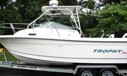 clean well taken care of boat, 23.5 feet , 225hp fuel injected four stroke mercury outboard ( its a yamaha made for mercury) recent tune up, 200 low hrs., hyd. trim tabs, hyd. steering, cutty cabin has sink , toilet , propane burner, bunks, table ,vhs