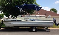 This Voyager is loaded with cool equipment and set up for fishing and/ or leisure. Model is a V Super 22CC. Featuring built in dock lights, am/fm/cd/aux w/ 4 speakers, 2 pressure water system power sinks, 2 livewells , 2 rod boxes, Fish/Depth finder, bait