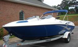 2004 YAMAHA LX 210 JET BOAT. IT IS 21 FEET IN LENGTH AND WILL HOLD 7 PASSENGERS COMFORTABLY. IT IS POWERED BY TWO YAMAHA 2 STROKE, 3 CYLINDER, JET DRIVES. IT HAS A TOTAL OF 270 HORSE POWER. THE ATLANTIC BLUE GELCOAT STILL HAS A GREAT SHINE TO IT. THE