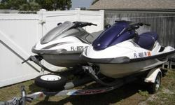 ;;''These are 2 FX140, 4 stroke, Yamaha jetskis with double trailer.The blue one is 2005 with 122 hours and the grey one is 2002 with 73 hours.Both skis have 1000CC 4 stroke engine which gives out 140hp.This is the top model for its year with reverse,
