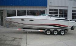 Twin 454 MerCruiser Engines, Corsa Silent Choice Exhaust, Bravo One Drives with Quicksilver Mirage 25 Pitch Props, Stainless Pop-Up Cleats, Swim Ladder, Faris Gauges, Humminbird Depth Sounder, Dual Battery Switches, Richie Marine Compass, Drop Down Front