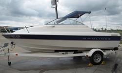 You are looking at 2005 Bayliner 192 cuddy cabin boat. The Bayliner 192 will guarantee a few double takes from its onlookers. Her low, and sleek design really sets her apart from other boats her size. Powered by a reliable Mercury 3.0 Liter engine that