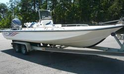"""2005 BLUE WAVE CENTER CONSOLE 244 MAGNUM.2005 YAMAHA 225 FOURSTROKE.2005 TANDOM AXLE LOADMASTER TRAILER .Length: 24' 4'' Lifetime anti-rot plywood .9 people or 1350 lbs SST steering wheel .Draft: 10-12'' 1950 lbs. persons, motor, and boat .Beam: 102"""" 225"""