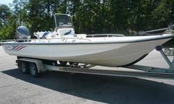"2005 BLUE WAVE CENTER CONSOLE 244 MAGNUM.2005 YAMAHA 225 FOURSTROKE.2005 TANDOM AXLE LOADMASTER TRAILER .Length: 24' 4'' Lifetime anti-rot plywood .9 people or 1350 lbs SST steering wheel .Draft: 10-12'' 1950 lbs. persons, motor, and boat .Beam: 102"" 225"