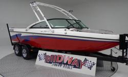 This is a bigger 24' Surf/Wake boat with only 230 hrs!! Calabria builds a very nice boat. This has a new Perfect Pass Cruise control just installed. Also has the super fast waste gate Ballast fill system. Comes with warranty. Ask about FREE delivery.We